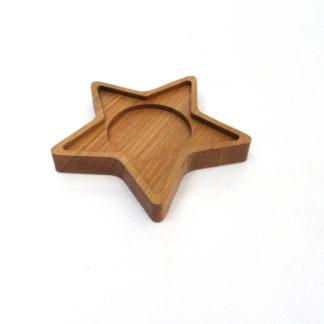 Masif ahşap yıldız çay tabağı