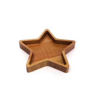 Masif ahşap yıldız çerez tabağı