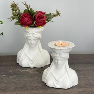 Antik Kadın Saksı Kırmızı Gül Tealight Mum