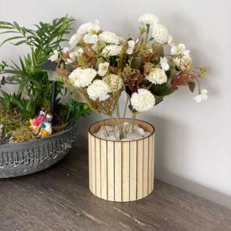 Saksıda Beyaz Karanfil Yapay Çiçek