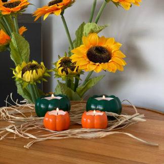 Turuncu Yeşil Balkabağı Kabak Biblo Mum IKEA Glimma Tealight Set