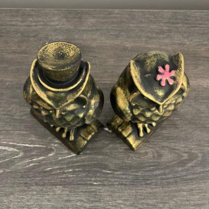 eskitme el yapımı altın baykuş biblo seti