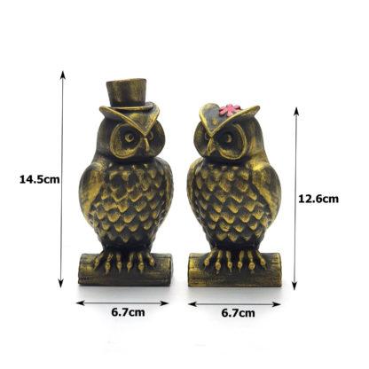 eskitme el yapımı altın baykuş biblo seti boyutlar