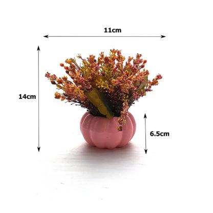 Pembe balkabağı saksıda yapay çiçek aranjmanı çiçek kokulu boyutları