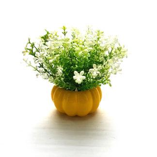 Sarı balkabağı saksıda yapay çiçek aranjmanı çiçek kokulu