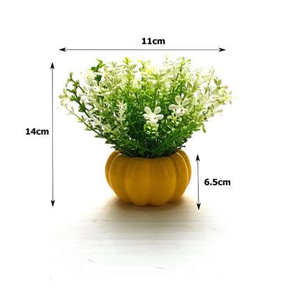Sarı balkabağı saksıda yapay çiçek aranjmanı boyutlar